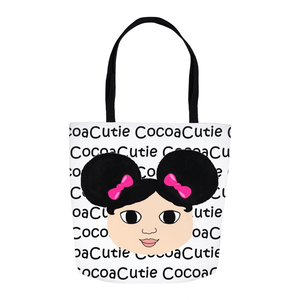 Afro Puffs and Pink Bows Cocoa Cutie(Mackenzie) Shoulder Tote Bags-Light Skin