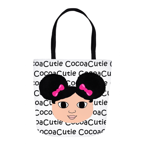 Afro Puffs and Pink Bows Cocoa Cutie(Kiara) Shoulder Tote Bags-Medium Light