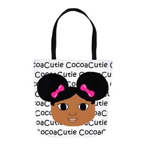 Afro Puffs and Pink Bows Cocoa Cutie(Jordyn) Shoulder Tote Bags-Medium Dark Skin
