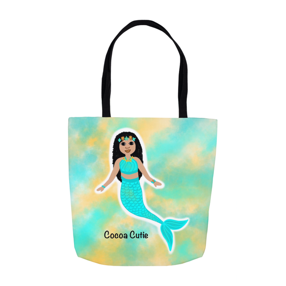 Blue Mermaid(Kiara) Cocoa Cutie Shoulder Tote Bags-Medium Light Skin