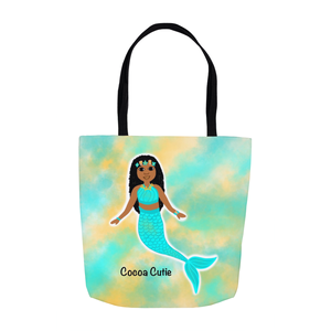 Blue Mermaid(Jordyn) Cocoa Cutie Shoulder Tote Bags-Medium Dark