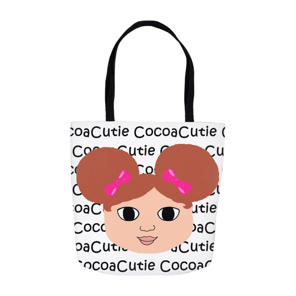 Afro Puffs and Pink Bows Cocoa Cutie(Chantel) Shoulder Tote Bags-Light/Red Hair