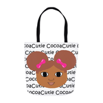 Afro Puffs and Pink Bows Cocoa Cutie(Laila) Shoulder Tote Bags-Medium Dark/Red Hair