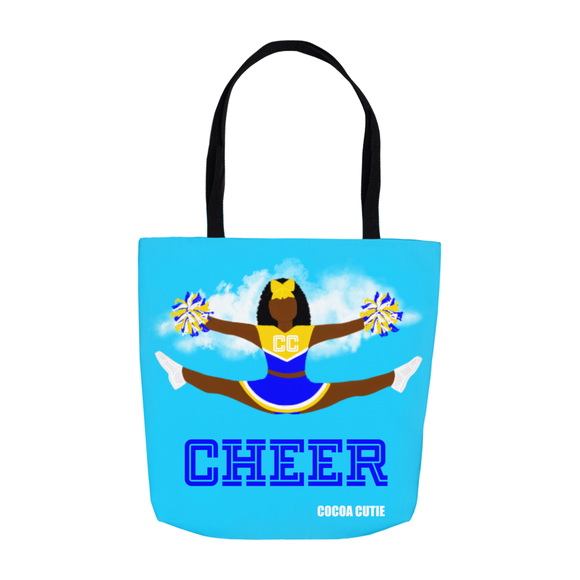 Cheerleader Cocoa Cutie Blue Shoulder Tote Bags- Yanna/Dark Skin