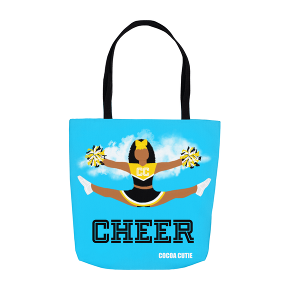 Cheerleader Cocoa Cutie Black Shoulder Tote Bags- Jordyn/Medium Dark Skin