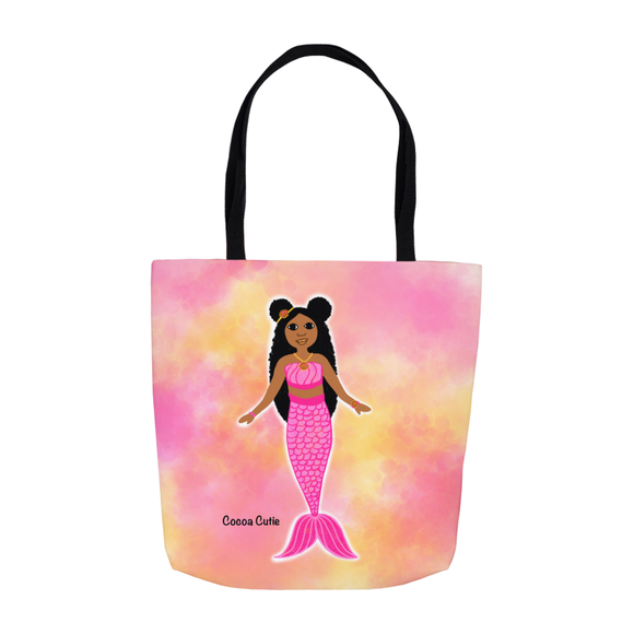 Pink Mermaid Cocoa Cutie Shoulder Tote Bags- Jordyn/Medium Dark Skin