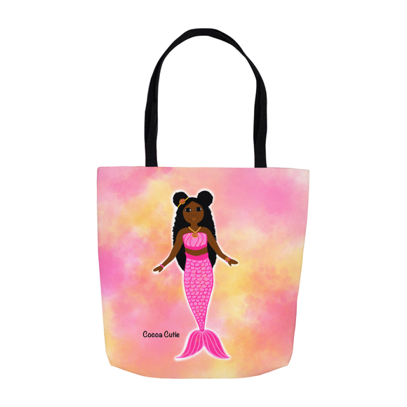 Pink Mermaid Cocoa Cutie Shoulder Tote Bags- Yanna/Dark Skin