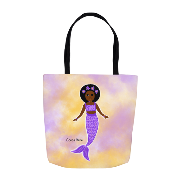 Purple Mermaid Cocoa Cutie Shoulder Tote Bags- Yanna/Dark Skin