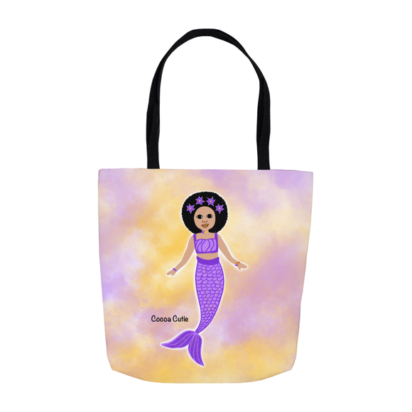 Purple Mermaid Cocoa Cutie Shoulder Tote Bags- Kiara/Medium Light Skin