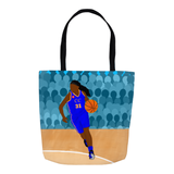Basketball Cocoa Cutie Shoulder Tote Bags-Yanna/Dark Skin(Blue-Girl)
