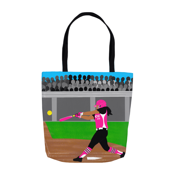 Softball Cocoa Cutie Shoulder Tote Bags- Jordyn/Medium Dark Skin(PINK)-GIRL