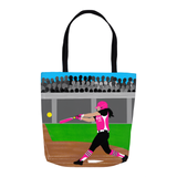 Softball Cocoa Cutie Shoulder Tote Bags- Kiara/Medium Light Skin(PINK)-GIRL