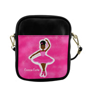 Pink Dancer in the Stars(Yanna) Cocoa Cutie Sling Crossbody Purse-Dark Skin Faux Leather