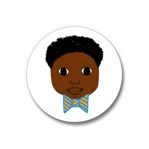 "Bow Tie Pin-Back Button-Dark Skin 1.25"" Boy"