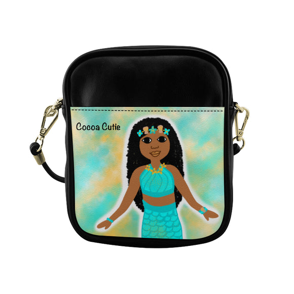 Blue Mermaid(Jordyn) Cocoa Cutie Sling Crossbody Purse-Medium Dark Skin Faux Leather