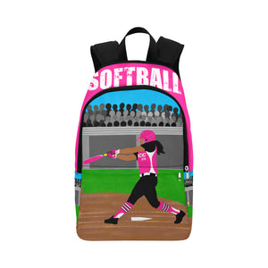 Softball Cocoa Cutie Canvas Backpacks(3 Skin Tones/2 Colors)-GIRL