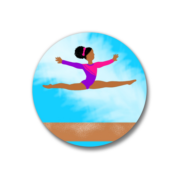 Gymnast Pin-Back Button-Medium Dark Skin 1.25