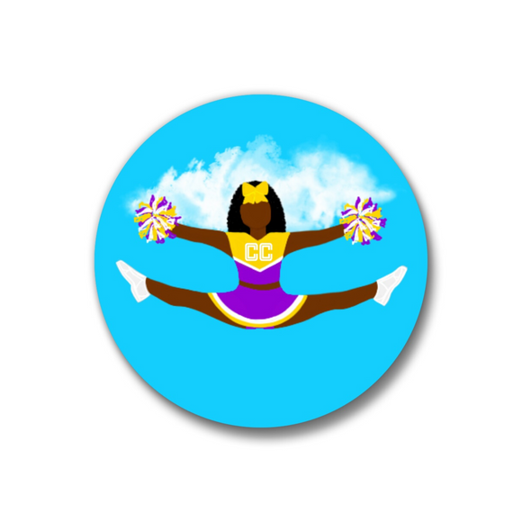 Cheer Purple Pin-Back Button-Dark Skin 1.25