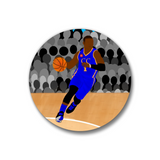 "Basketball Blue Pin-Back Button-Dark Skin-1.25"" Boy"