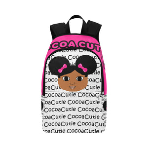 Afro Puffs and Pink Bows Cocoa Cutie Canvas Backpacks(4 Skintones)