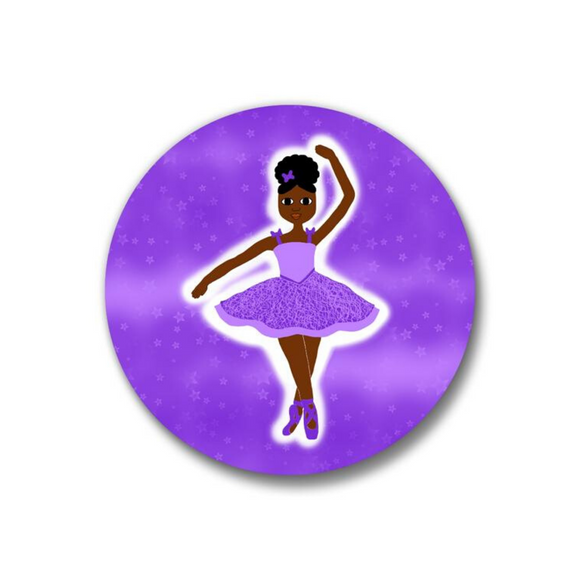 Black Ballerina Dance Button Pin Purple