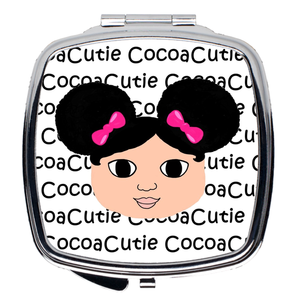 Afro Puffs and Pink Bows Cocoa Cutie Compact Mirror(Kiara/Medium Light Skin)