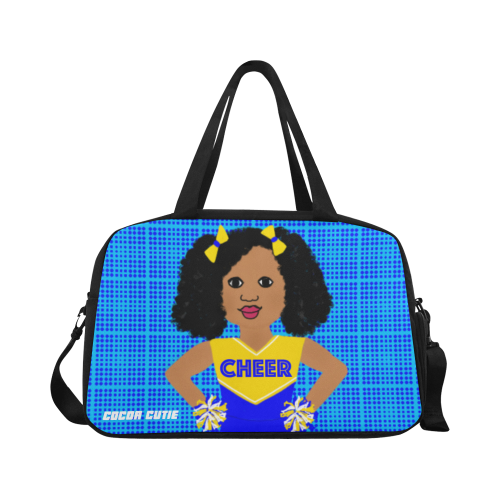 Black Cheerleader Cheer Competition Practice Duffel Bag Blue/Yellow