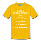 I Am A Cocoa Cutie Toddler Cotton Premium Tee(Princess) - sun yellow