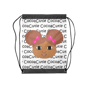 Afro Puffs and Pink Bows Cocoa Cutie Drawstring Backpacks(4 Skintones)