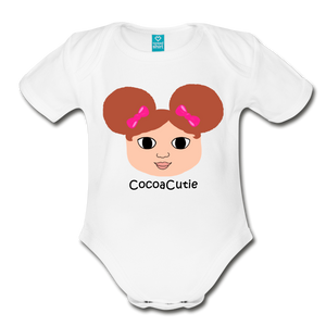 Afro Puffs and Pink Bows(Chantal) Cocoa Cutie Baby Organic Short Sleeve Bodysuit - white
