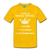 I Am A Cocoa Cutie Toddler Cotton Premium T-Shirt(Prince) - sun yellow
