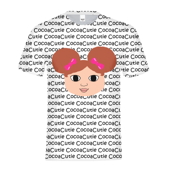 AFRO PUFFS AND PINK BOWS CHANTEL COCOA CUTIE Kids Performance Tee