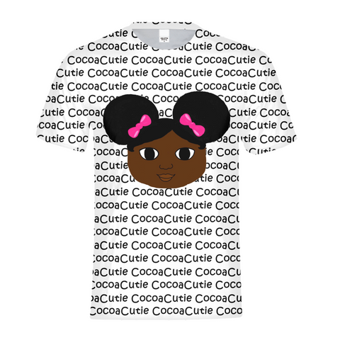 AFRO PUFFS AND PINK BOWS YANNA COCOA CUTIE Kids Performance Tee