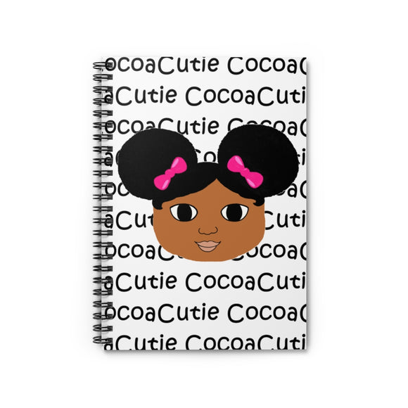 Afro Puffs and Pink Bows Jordyn Cocoa Cutie Spiral Notebook - Ruled Line
