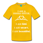 I Am A Cocoa Cutie Kid's Premium Cotton Tee(Princess) - sun yellow