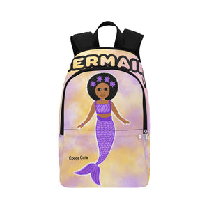 Purple Mermaid Cocoa Cutie Canvas Backpacks(3 Skintones)