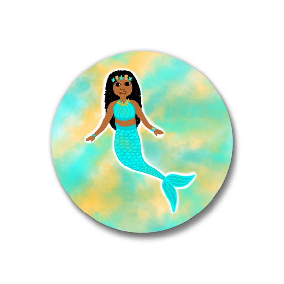 Mermaid Blue Pin-Back Button-Medium Dark Skin 1.25