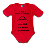 I Am A Cocoa Cutie Baby Organic Short Sleeve Bodysuit(Princess) - red
