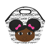 Afro Puffs and Pink Bows Cocoa Cutie Lunch Totes Neoprene(4 Skintones)