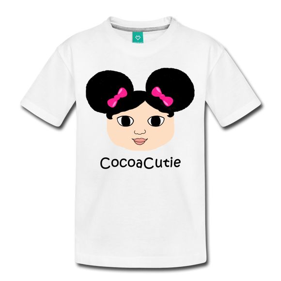 Afro Puffs and Pink Bows(Mackenzie) Cocoa Cutie Toddler Cotton Premium T-Shirt - white