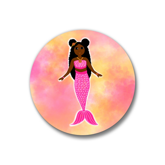 Mermaid Pink Pin-Back Button-Dark Skin 1.25