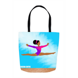 Gymnast(Jordyn) Cocoa Cutie Shoulder Tote Bags-Medium Dark Skin