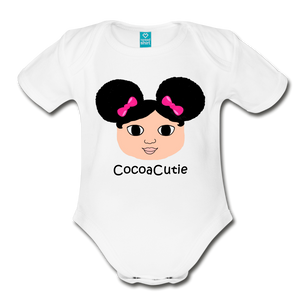 Afro Puffs and Pink Bows(Kiara) Cocoa Organic Short Sleeve Bodysuit - white