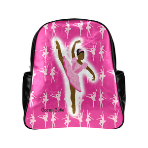QUICK SHIP-GIRLS PINK BALLERINA FAUX LEATHER BACKPACKS-DARK SKIN