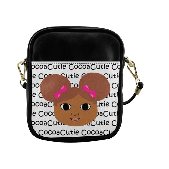 Afro Puffs & Pink Bows Cocoa Cutie Sling Crossbody Purse Faux Leather Laila/Medium Dark Skin Red Hair