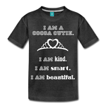 I Am A Cocoa Cutie Kid's Premium Cotton Tee(Princess) - charcoal gray