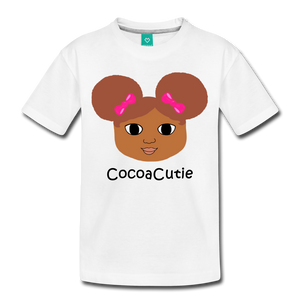 Afro Puffs and Pink Bows(Laila) Cocoa Cutie Toddler Cotton Premium T-Shirt - white