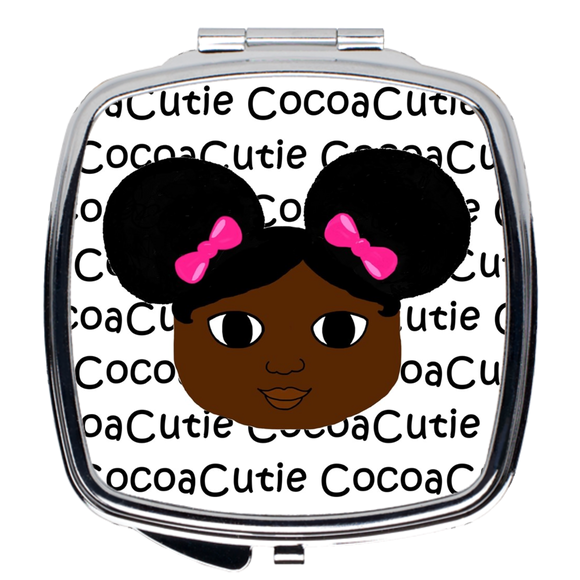 Afro Puffs and Pink Bows Cocoa Cutie Compact Mirror(Yanna/Dark Skin)