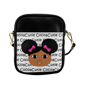 Afro Puffs and Pink Bows Cocoa Cutie(Jordyn) Sling Crossbody Purse-Medium Dark Skin Faux Leather