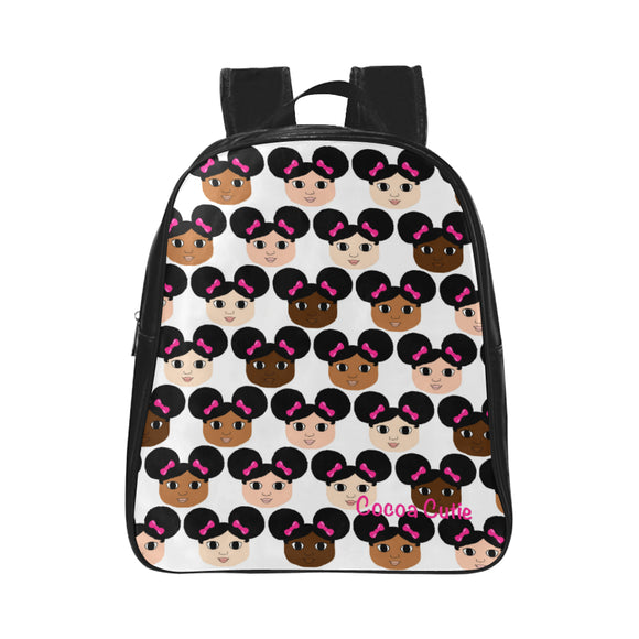 Afro Puffs and Pink Bows Preschool/Toddler Faux Leather Mini Backpacks(Seven Designs)